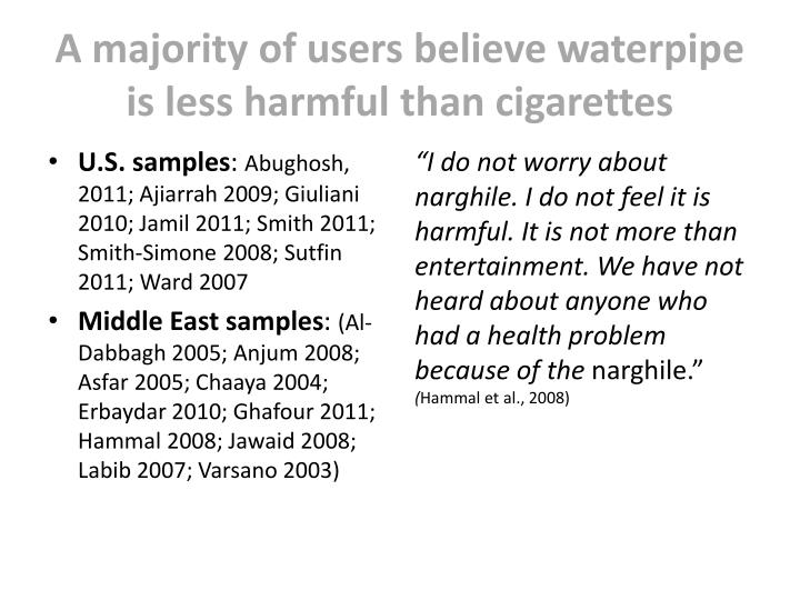 A majority of users believe waterpipe is less harmful than cigarettes