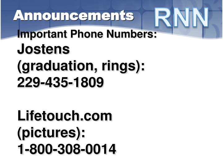 Important Phone Numbers: