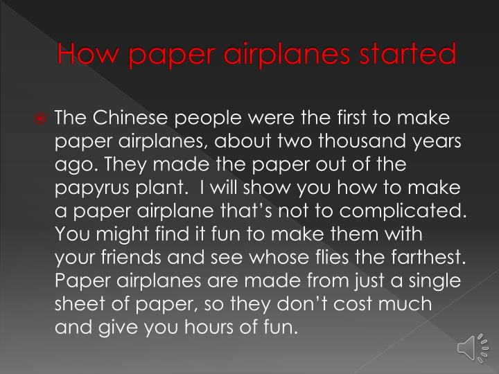 How paper airplanes started