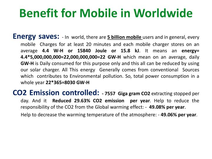 Benefit for Mobile in Worldwide