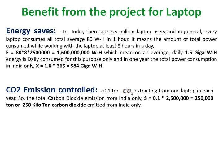 Benefit from the project for Laptop