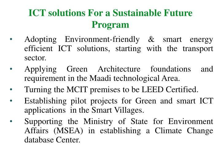 ICT solutions For a Sustainable Future Program