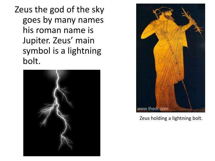 Zeus holding a lightning bolt.
