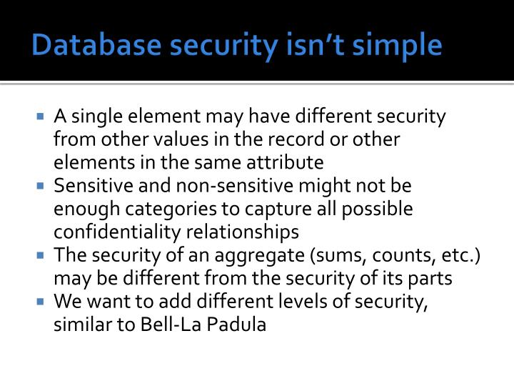 Database security isn't simple