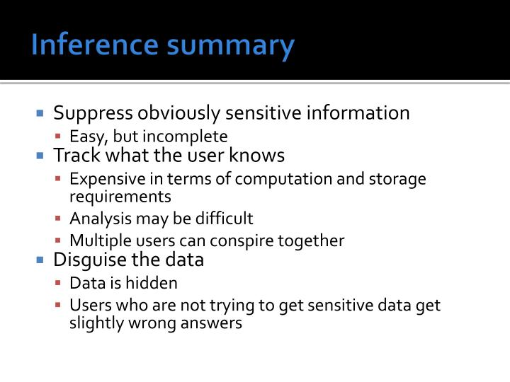 Inference summary