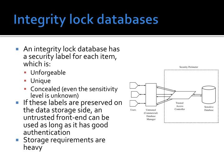 Integrity lock databases