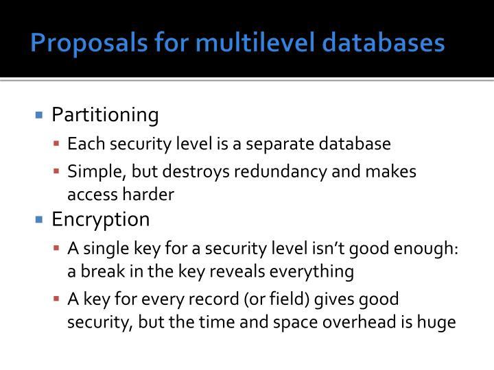 Proposals for multilevel databases