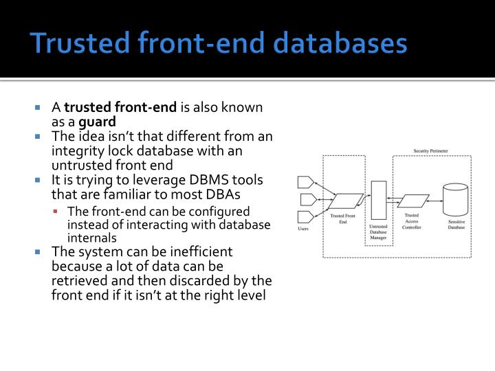 Trusted front-end databases