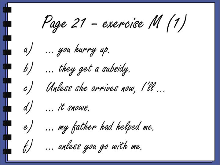 Page 21 – exercise M (1)