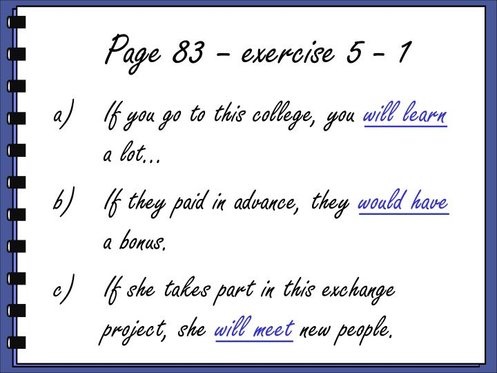 Page 83 – exercise 5 - 1