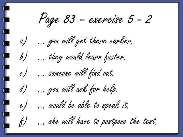 Page 83 – exercise 5 - 2