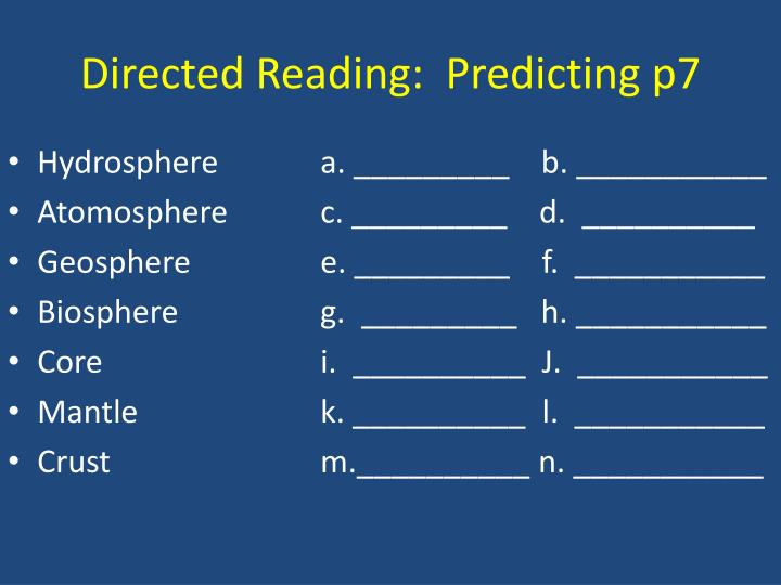 Directed Reading:  Predicting p7