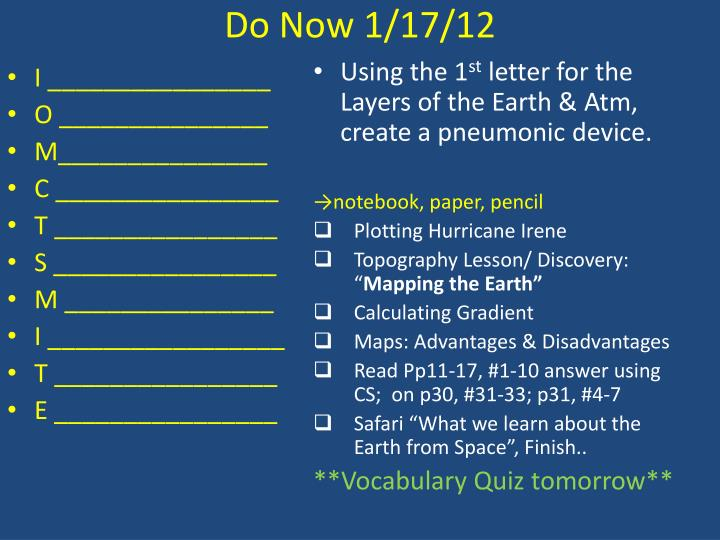 Do Now 1/17/12