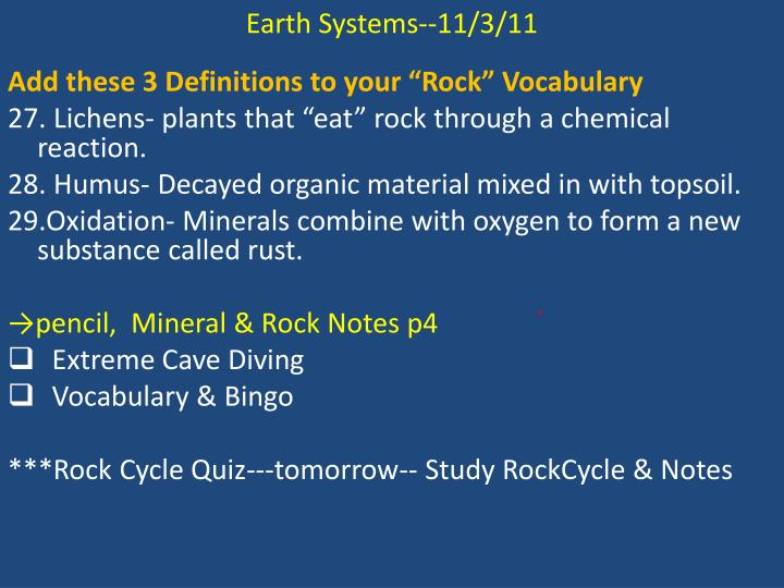 Earth Systems--11/3/11