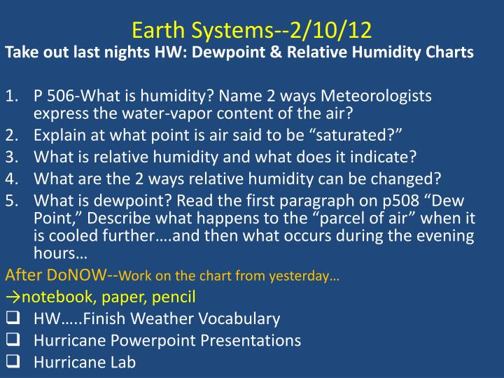 Earth Systems--2/10/12