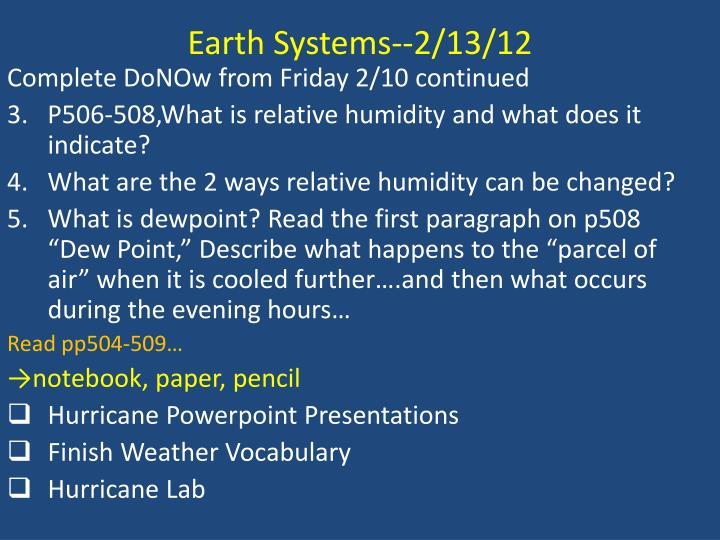 Earth Systems--2/13/12