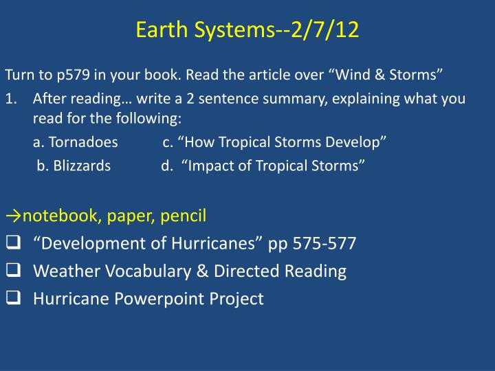 Earth Systems--2/7/12
