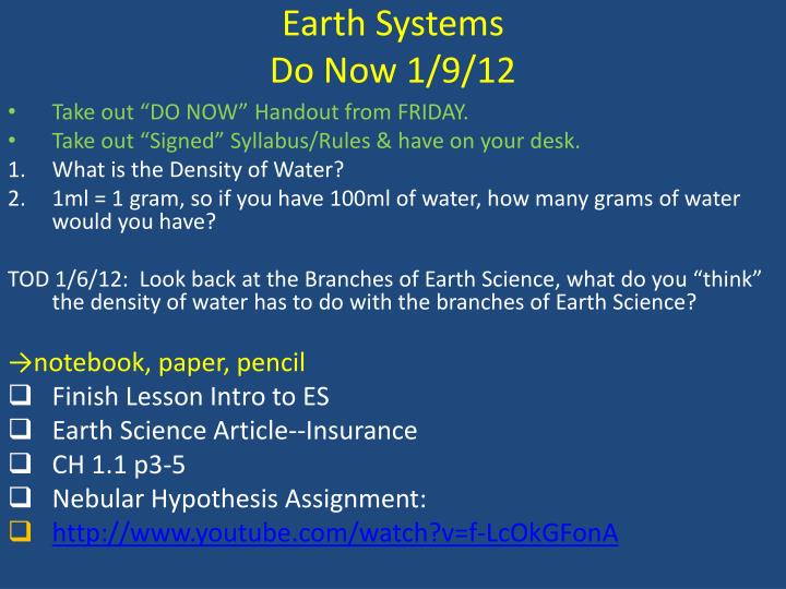 Earth systems do now 1 9 12