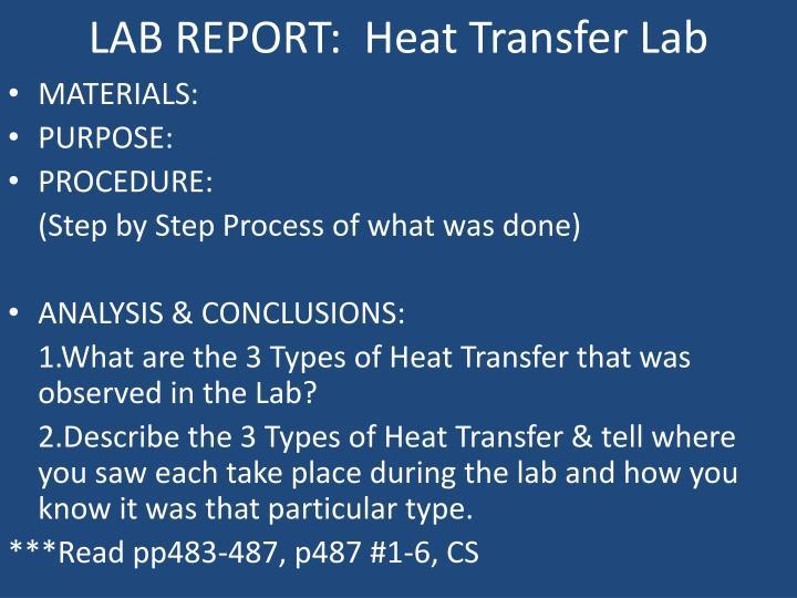 LAB REPORT:  Heat Transfer Lab