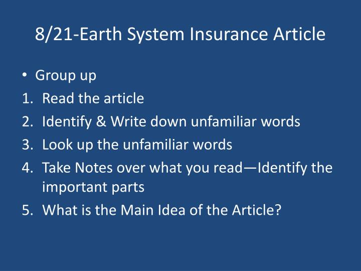 8/21-Earth System Insurance Article