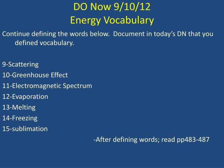 DO Now 9/10/12