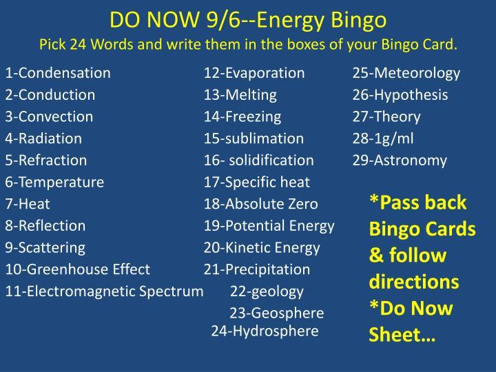 DO NOW 9/6--Energy Bingo