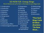 do now 9 6 energy bingo pick 24 words and write them in the boxes of your bingo card