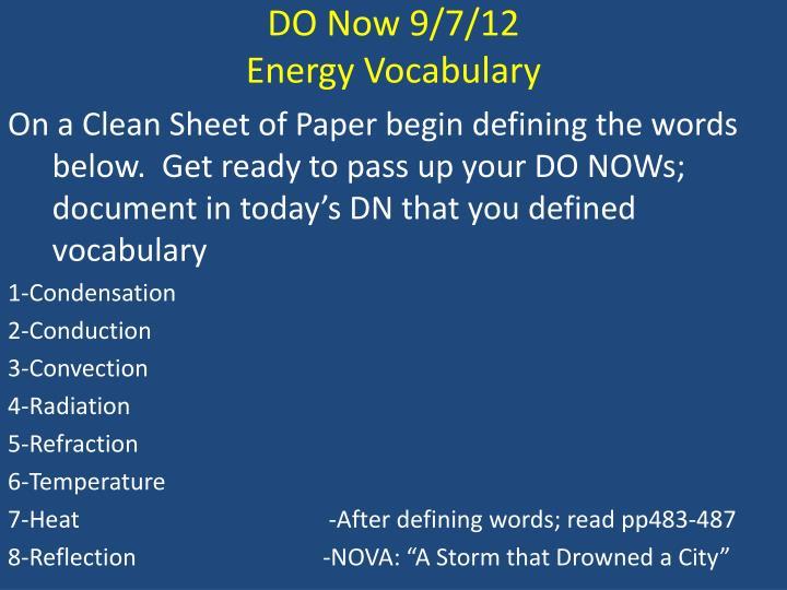 DO Now 9/7/12