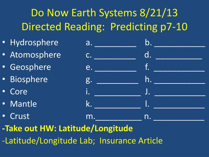 Do Now Earth Systems 8/21/13