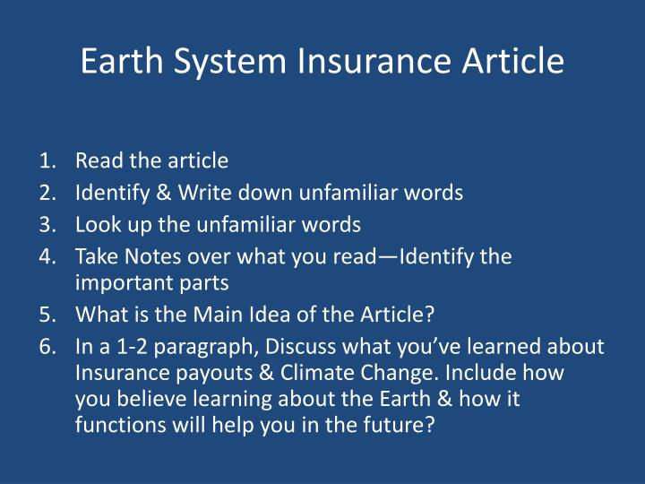Earth System Insurance Article