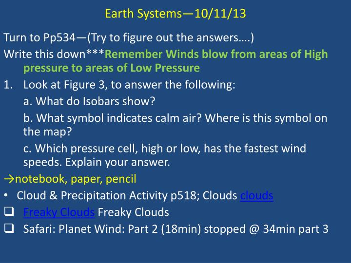 Earth Systems—10/11/13