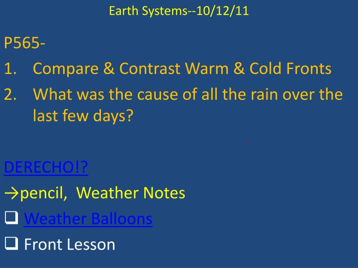 Earth Systems--10/12/11