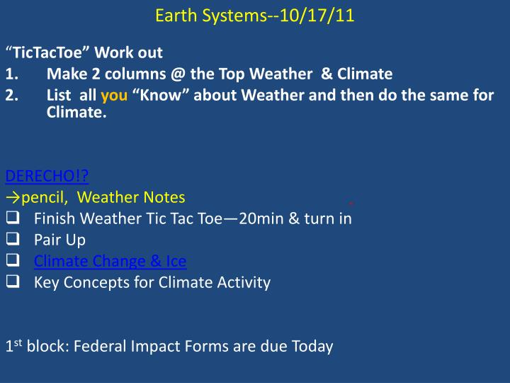 Earth Systems--10/17/11