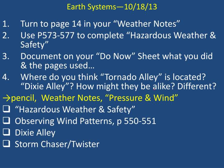 Earth Systems—10/18/13