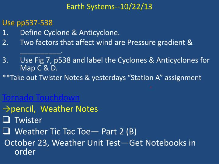 Earth Systems--10/22/13
