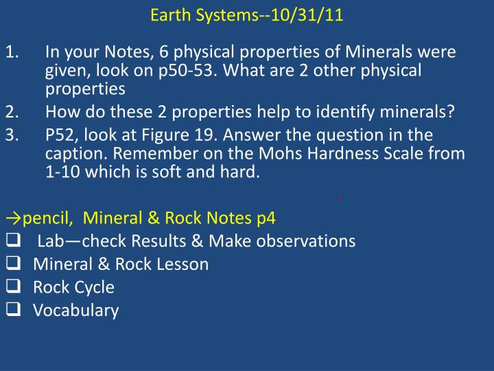 Earth Systems--10/31/11
