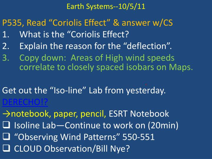 Earth Systems--10/5/11