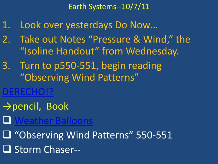 Earth Systems--10/7/11