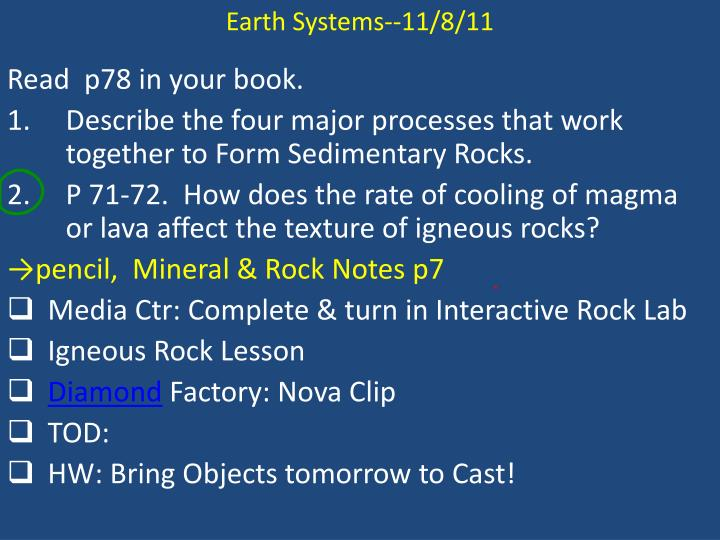 Earth Systems--11/8/11