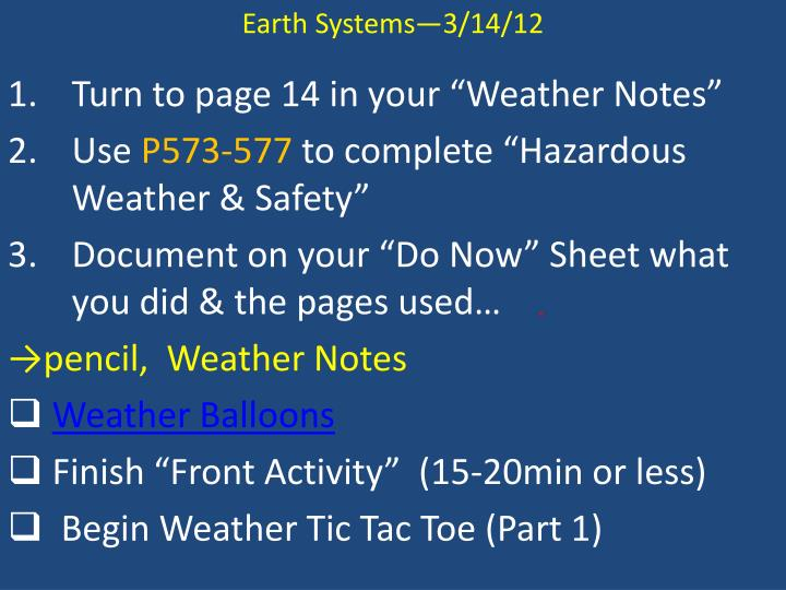 Earth Systems—3/14/12