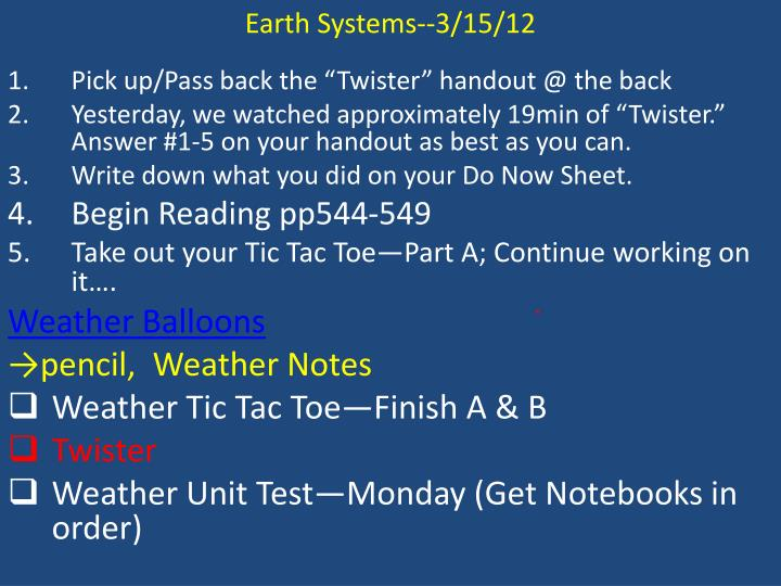 Earth Systems--3/15/12