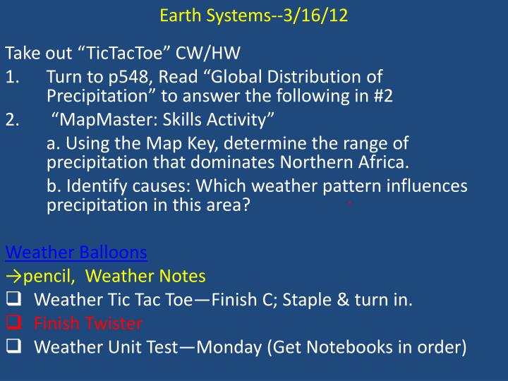 Earth Systems--3/16/12