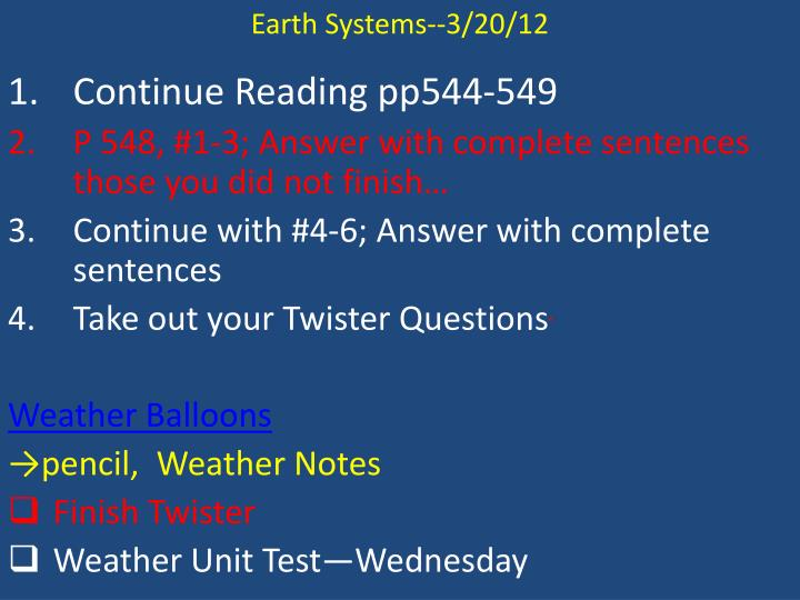 Earth Systems--3/20/12