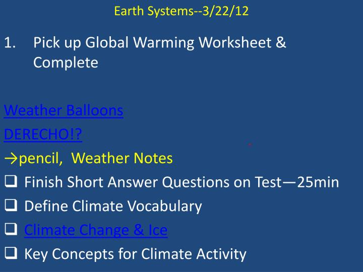 Earth Systems--3/22/12