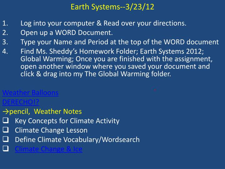 Earth Systems--3/23/12