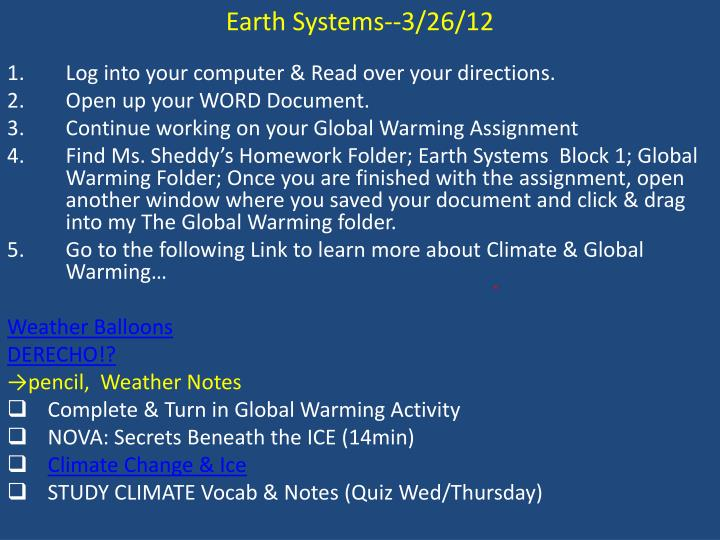 Earth Systems--3/26/12