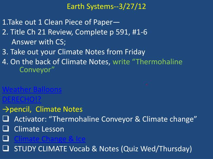 Earth Systems--3/27/12