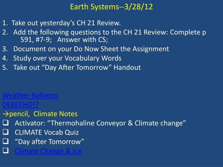 Earth Systems--3/28/12