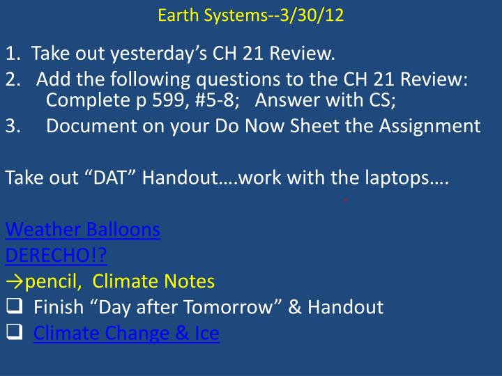 Earth Systems--3/30/12