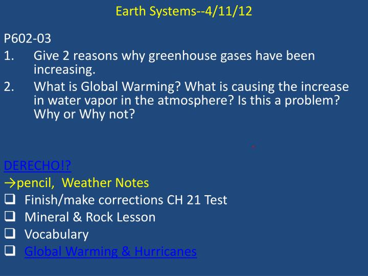 Earth Systems--4/11/12